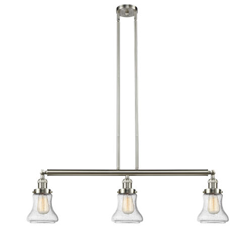 Bellmont Brushed Satin Nickel Three-Light Adjustable Island Pendant with Seedy Glass