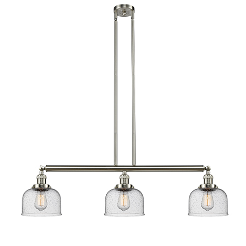 Innovations Lighting Large Bell Brushed Satin Nickel Three-Light Island Pendant with Seedy Dome Glass