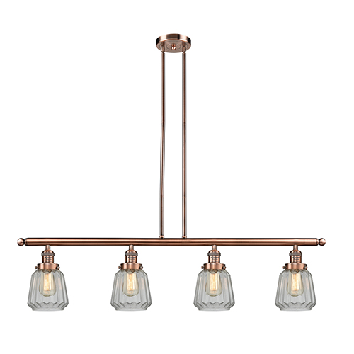 Innovations Lighting Chatham Antique Copper Four-Light Island Pendant with Clear Fluted Novelty Glass