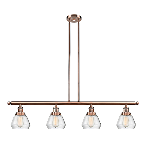 Innovations Lighting Fulton Antique Copper Four-Light LED Island Pendant with Clear Sphere Glass