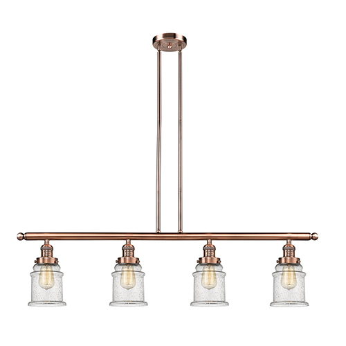 Innovations Lighting Canton Antique Copper Four-Light Island Pendant with Seedy Bell Glass
