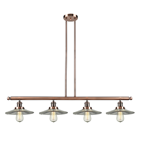 Innovations Lighting Halophane Antique Copper Four-Light LED Island Pendant with Halophane Cone Glass