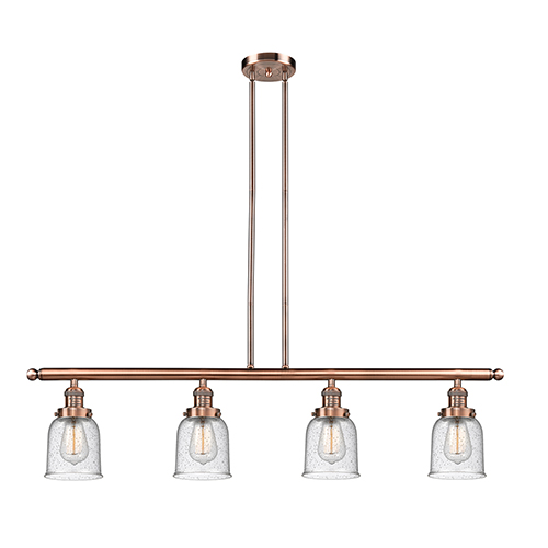 Innovations Lighting Small Bell Antique Copper Four-Light LED Island Pendant with Seedy Bell Glass