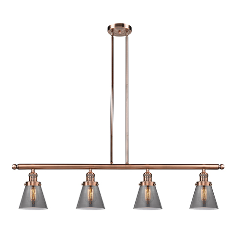 Innovations Lighting Small Cone Antique Copper Four-Light LED Island Pendant with Smoked Cone Glass