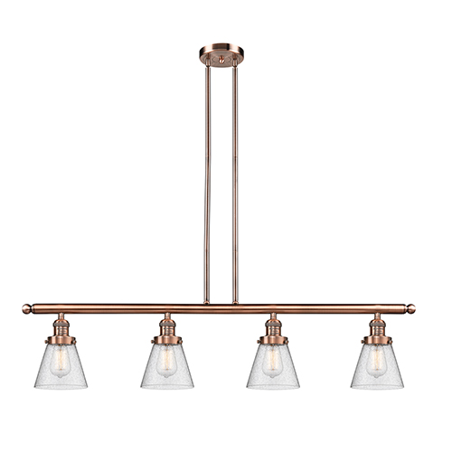 Innovations Lighting Small Cone Antique Copper Four-Light Island Pendant with Seedy Cone Glass