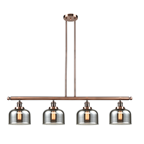 Large Bell Antique Copper Four-Light LED Island Pendant with Smoked Dome Glass
