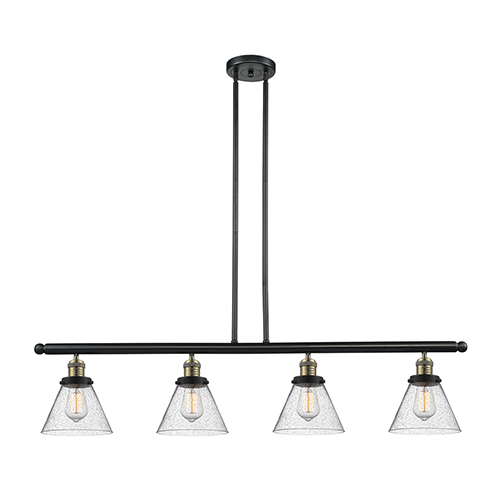 Innovations Lighting Large Cone Black Antique Brass Four-Light LED Island Pendant with Seedy Cone Glass