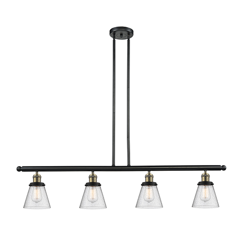 Innovations Lighting Small Cone Black Antique Brass Four-Light Island Pendant with Seedy Cone Glass