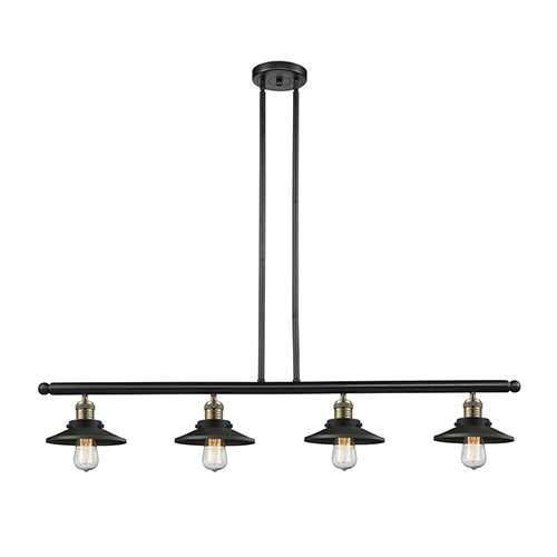 Innovations Lighting Railroad Black Antique Brass Four-Light Island Pendant with Matte Black Metal Shade