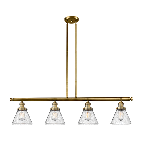 Innovations Lighting Large Cone Brushed Brass Four-Light Island Pendant with Seedy Cone Glass