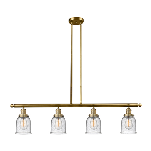 Innovations Lighting Small Bell Brushed Brass Four-Light Island Pendant with Seedy Bell Glass