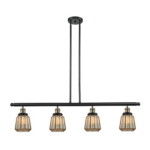 Innovations Lighting Chatham Black Brushed Brass Four-Light LED Island Pendant with Mercury Fluted Novelty Glass