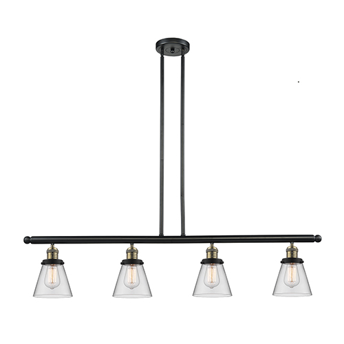 Innovations Lighting Small Cone Black Brushed Brass Four-Light Island Pendant with Clear Cone Glass