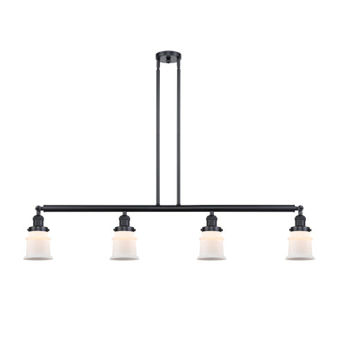 Franklin Restoration Matte Black 51-Inch Four-Light LED Island Chandelier with Small Matte White Canton Shade and Wire