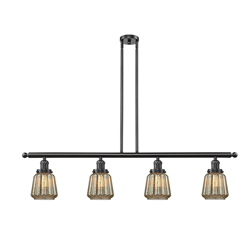 Chatham Oiled Rubbed Bronze Four-Light LED Island Pendant with Mercury Fluted Novelty Glass