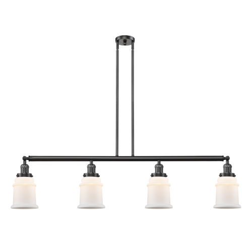 Franklin Restoration Oil Rubbed Bronze 51-Inch Four-Light LED Island Chandelier with Matte White Canton Shade and Wire