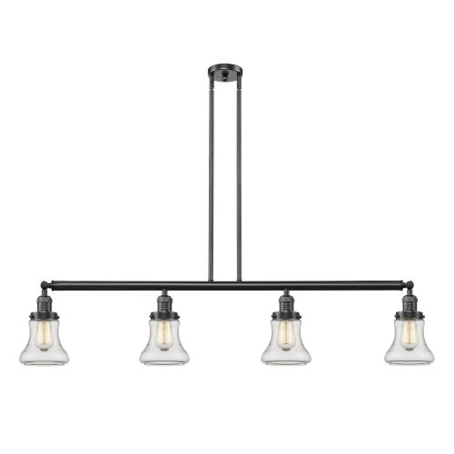 Innovations Lighting Bellmont Oiled Rubbed Bronze Four-Light Island Pendant with Clear Hourglass Glass