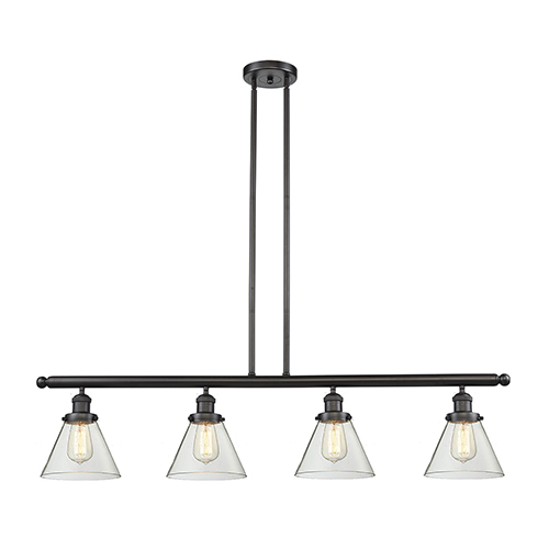 Large Cone Oiled Rubbed Bronze Four-Light Island Pendant with Clear Cone Glass