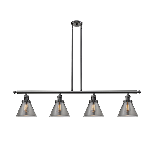 Innovations Lighting Large Cone Oiled Rubbed Bronze Four-Light Island Pendant with Smoked Cone Glass