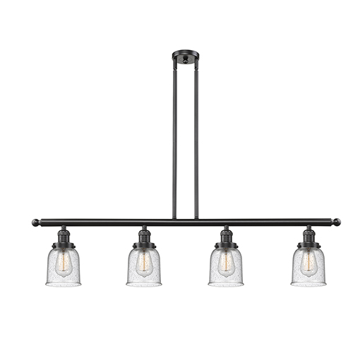 Innovations Lighting Small Bell Oiled Rubbed Bronze Four-Light Island Pendant with Seedy Bell Glass