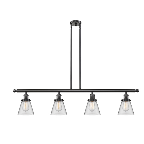 Small Cone Oiled Rubbed Bronze Four-Light Island Pendant with Clear Cone Glass