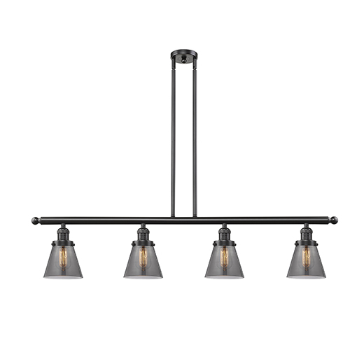 Small Cone Oiled Rubbed Bronze Four-Light Island Pendant with Smoked Cone Glass