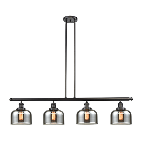 Innovations Lighting Large Bell Oiled Rubbed Bronze Four-Light Island Pendant with Smoked Dome Glass