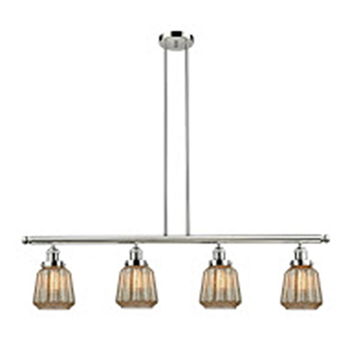 Innovations Lighting Chatham Polished Nickel Four-Light Island Pendant with Mercury Fluted Novelty Glass