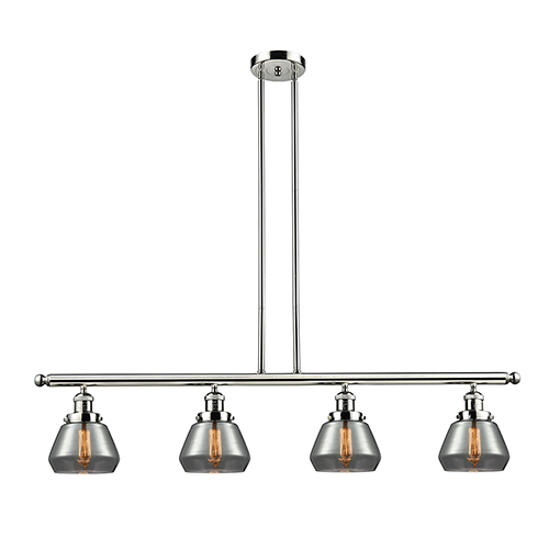 Innovations Lighting Fulton Polished Nickel Four-Light LED Island Pendant with Smoked Sphere Glass