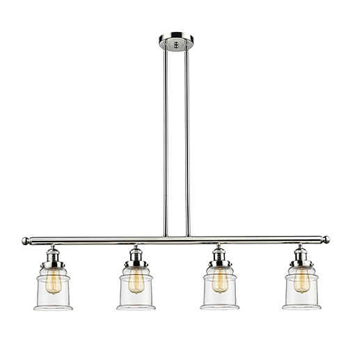 Canton Polished Nickel Four-Light Island Pendant with Clear Bell Glass