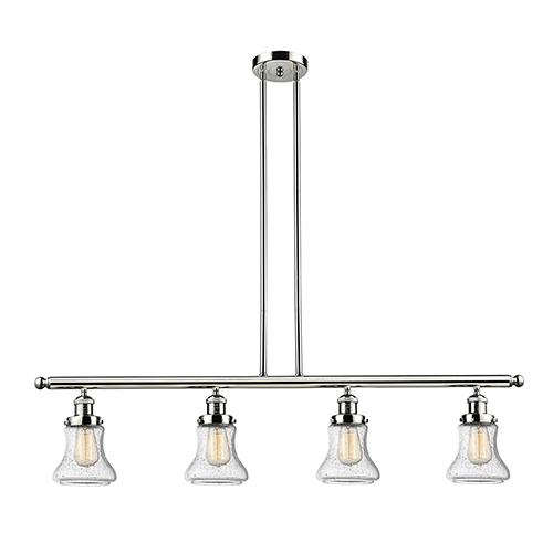 Innovations Lighting Bellmont Polished Nickel Four-Light Island Pendant with Seedy Hourglass Glass