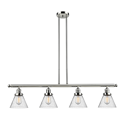 Innovations Lighting Large Cone Polished Nickel Four-Light Island Pendant with Seedy Cone Glass