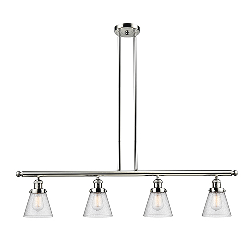 Innovations Lighting Small Cone Polished Nickel Four-Light LED Island Pendant with Seedy Cone Glass