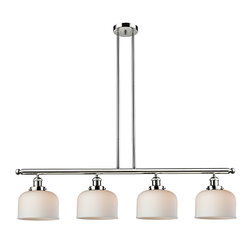 Innovations Lighting Large Bell Polished Nickel Four-Light LED Island Pendant with Matte White Cased Dome Glass
