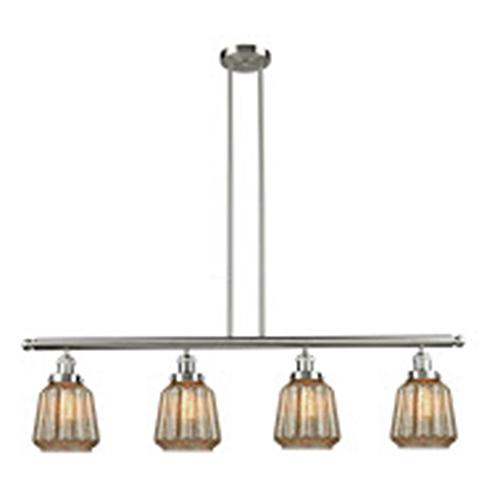 Innovations Lighting Chatham Brushed Satin Nickel Four-Light LED Island Pendant with Mercury Fluted Novelty Glass