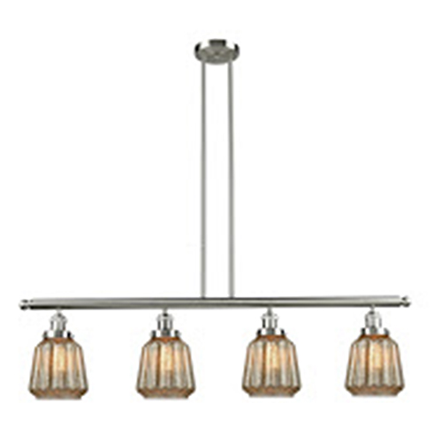 Innovations Lighting Chatham Brushed Satin Nickel Four-Light Island Pendant with Mercury Fluted Novelty Glass