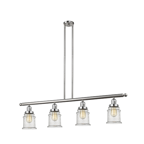 Canton Brushed Satin Nickel Four-Light LED Island Pendant with Seedy Bell Glass