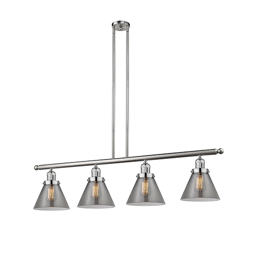 Innovations Lighting Large Cone Brushed Satin Nickel Four-Light Island Pendant with Smoked Cone Glass