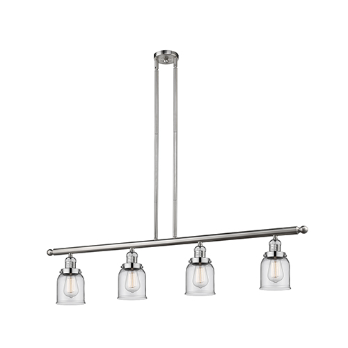 Innovations Lighting Small Bell Brushed Satin Nickel Four-Light LED Island Pendant with Clear Bell Glass