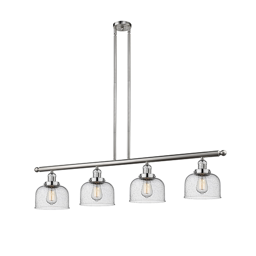 Innovations Lighting Large Bell Brushed Satin Nickel Four-Light Island Pendant with Seedy Dome Glass