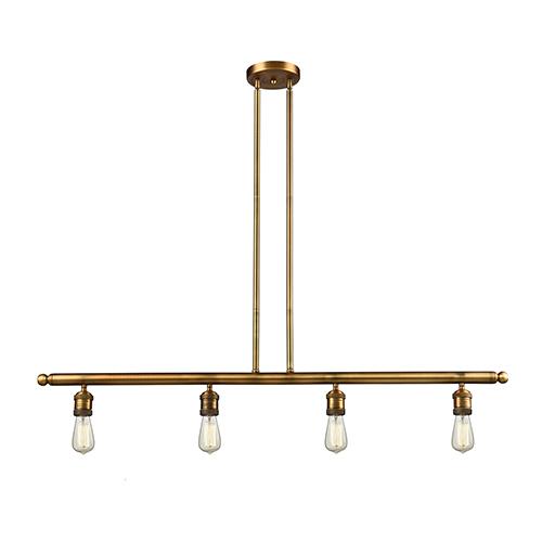 Innovations Lighting Bare Bulb Brushed Brass Four-Light Island Pendant