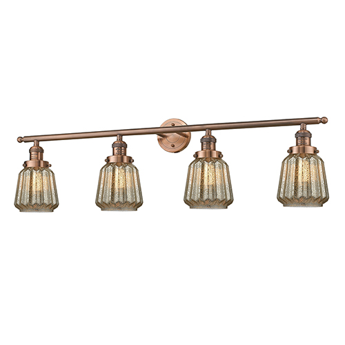 Chatham Antique Copper Four-Light LED Bath Vanity with Mercury Fluted Novelty Glass