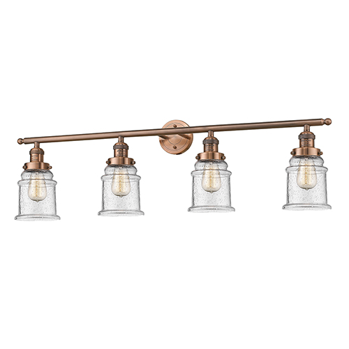 Canton Antique Copper Four-Light LED Bath Vanity with Seedy Bell Glass