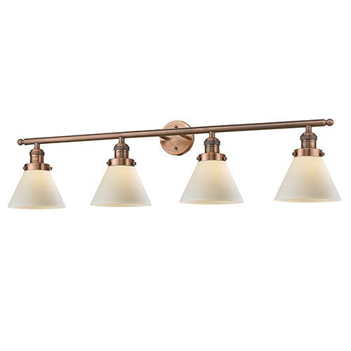 Large Cone Antique Copper Four-Light Bath Vanity with Matte White Cased Cone Glass