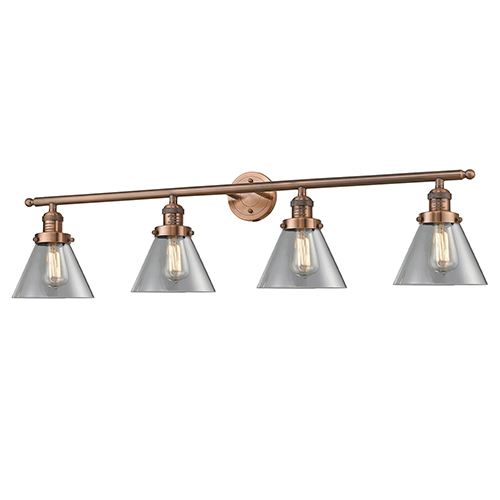 Large Cone Antique Copper Four-Light Bath Vanity with Clear Cone Glass