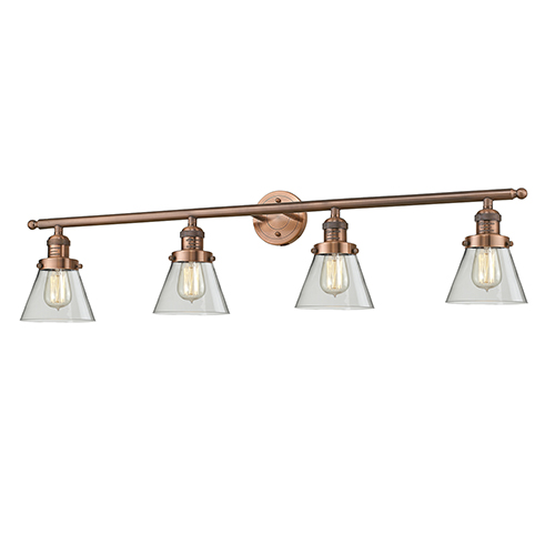 Small Cone Antique Copper Four-Light LED Bath Vanity with Clear Cone Glass