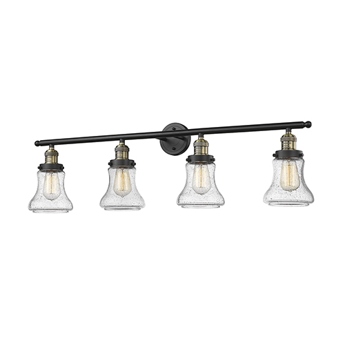 Bellmont Black Antique Brass Four-Light Bath Vanity with Seedy Hourglass Glass