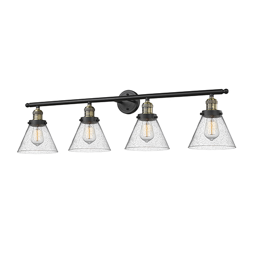 Large Cone Black Antique Brass Four-Light Bath Vanity with Seedy Cone Glass