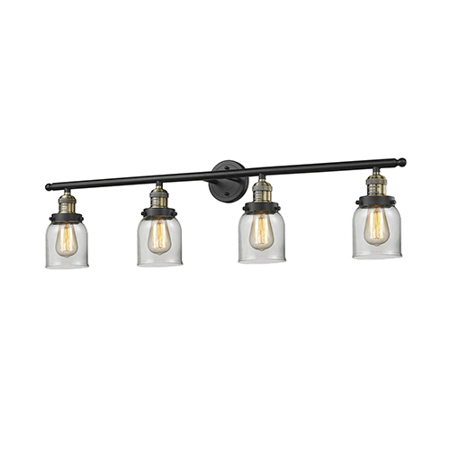 Small Bell Black Antique Brass Four-Light Bath Vanity with Clear Bell Glass
