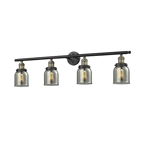 Small Bell Black Antique Brass Four-Light LED Bath Vanity with Smoked Bell Glass